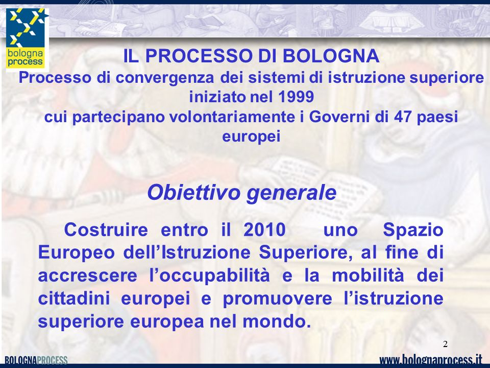 22 IL PROCESSO DI BOLOGNA Processo di convergenza dei sistemi di istruzione superiore iniziato nel 1999 cui partecipano volontariamente i Governi di 4