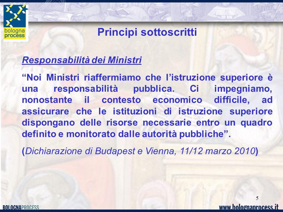 5 Principi sottoscritti Responsabilità dei Ministri Noi Ministri riaffermiamo che listruzione superiore è una responsabilità pubblica. Ci impegniamo,
