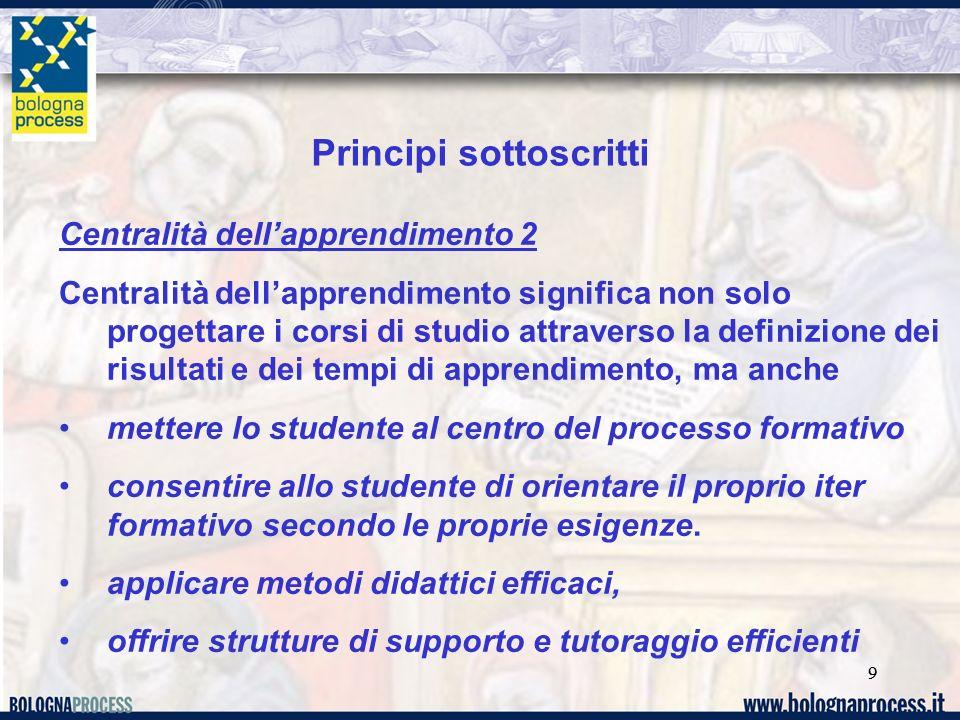 99 Centralità dellapprendimento 2 Centralità dellapprendimento significa non solo progettare i corsi di studio attraverso la definizione dei risultati