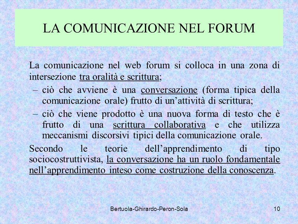 Bertuola-Ghirardo-Peron-Sola10 LA COMUNICAZIONE NEL FORUM La comunicazione nel web forum si colloca in una zona di intersezione tra oralità e scrittur