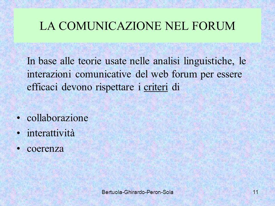 Bertuola-Ghirardo-Peron-Sola11 LA COMUNICAZIONE NEL FORUM In base alle teorie usate nelle analisi linguistiche, le interazioni comunicative del web fo