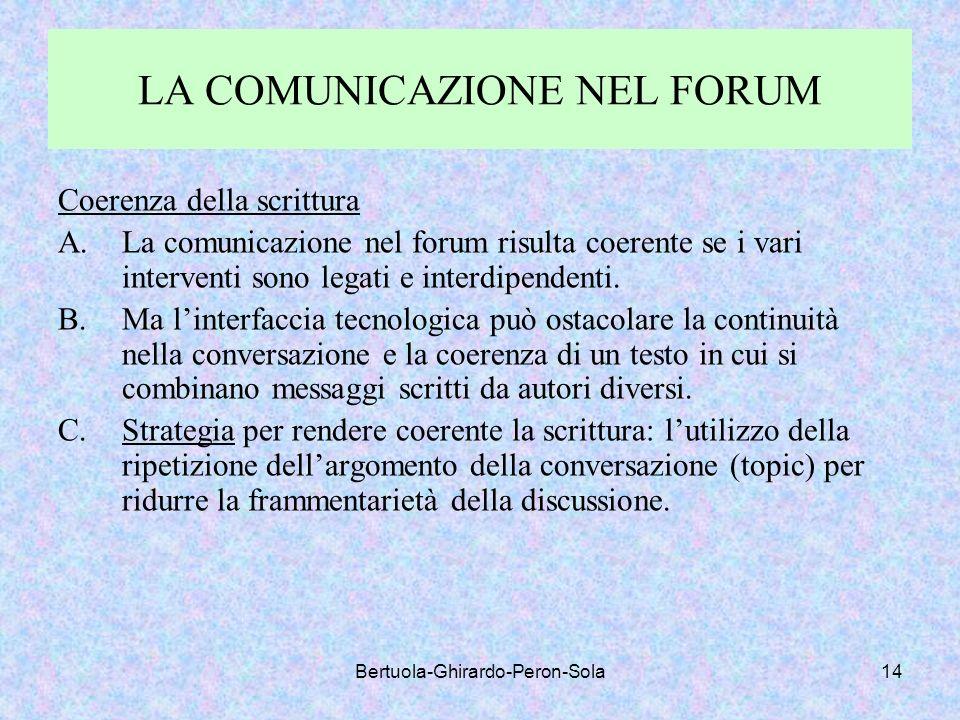 Bertuola-Ghirardo-Peron-Sola14 LA COMUNICAZIONE NEL FORUM Coerenza della scrittura A.La comunicazione nel forum risulta coerente se i vari interventi