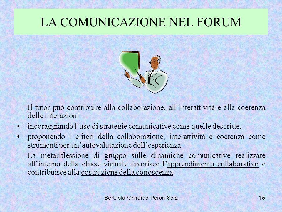 Bertuola-Ghirardo-Peron-Sola15 LA COMUNICAZIONE NEL FORUM Il tutor può contribuire alla collaborazione, allinterattività e alla coerenza delle interaz