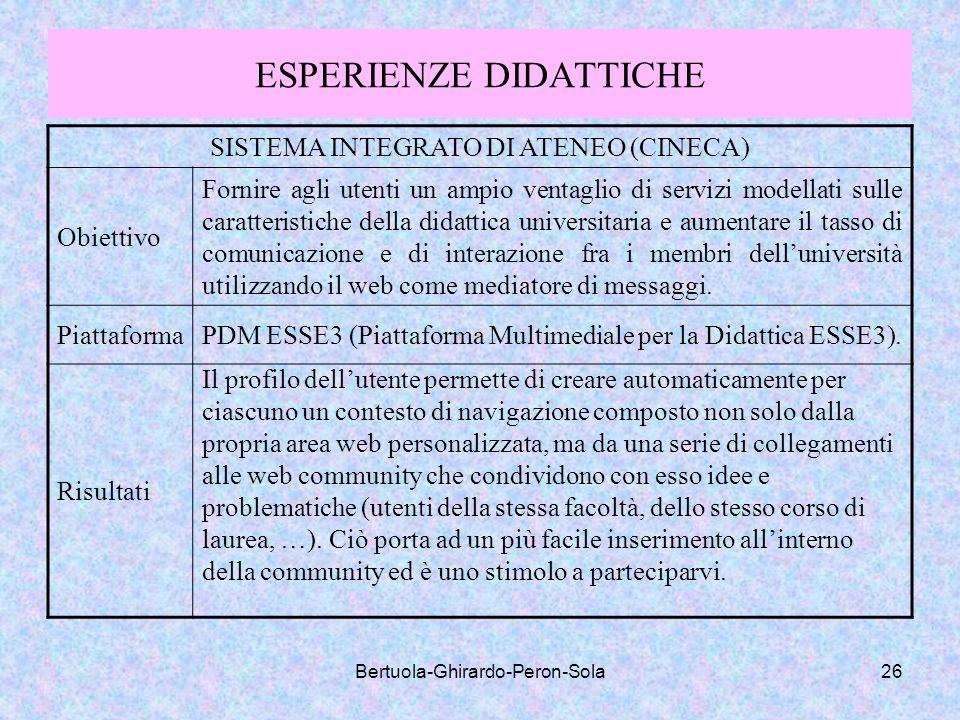 Bertuola-Ghirardo-Peron-Sola26 ESPERIENZE DIDATTICHE SISTEMA INTEGRATO DI ATENEO (CINECA) Obiettivo Fornire agli utenti un ampio ventaglio di servizi