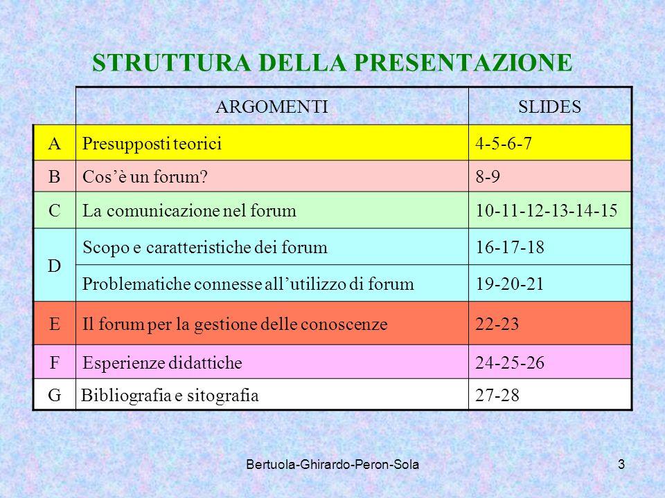 Bertuola-Ghirardo-Peron-Sola3 STRUTTURA DELLA PRESENTAZIONE ARGOMENTISLIDES APresupposti teorici4-5-6-7 BCosè un forum?8-9 CLa comunicazione nel forum