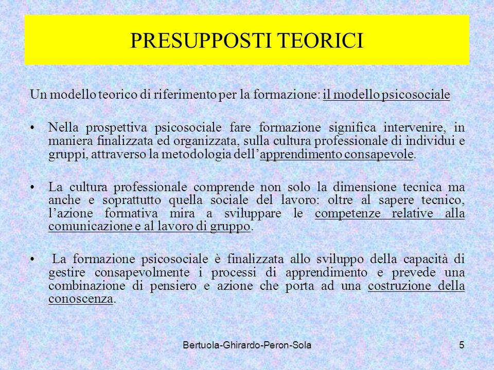 Bertuola-Ghirardo-Peron-Sola5 PRESUPPOSTI TEORICI Un modello teorico di riferimento per la formazione: il modello psicosociale Nella prospettiva psico