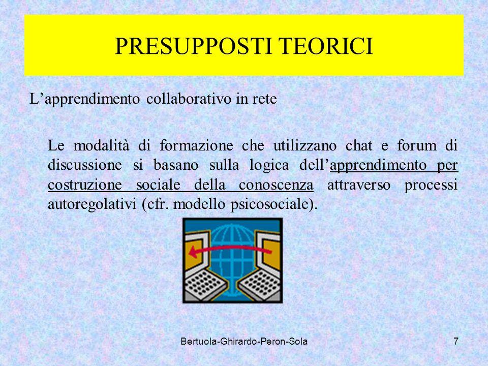 Bertuola-Ghirardo-Peron-Sola7 PRESUPPOSTI TEORICI Lapprendimento collaborativo in rete Le modalità di formazione che utilizzano chat e forum di discus