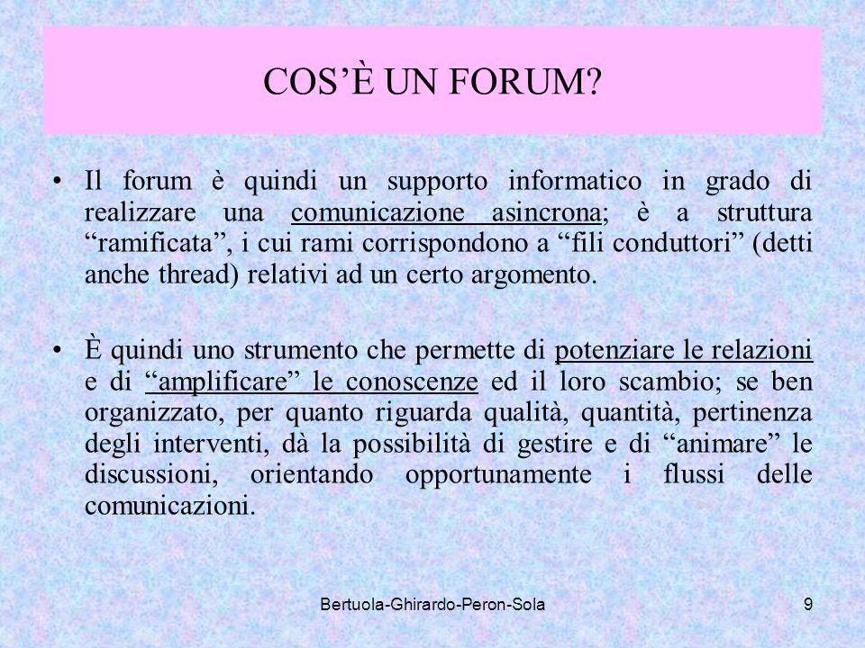 Bertuola-Ghirardo-Peron-Sola9 COSÈ UN FORUM? Il forum è quindi un supporto informatico in grado di realizzare una comunicazione asincrona; è a struttu
