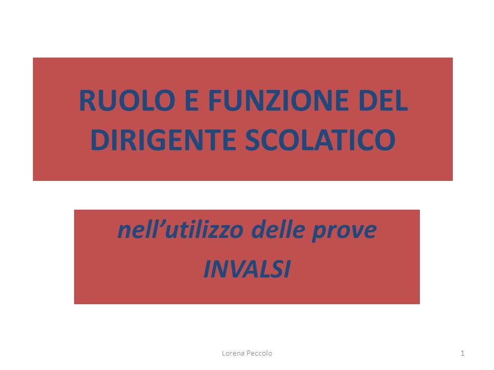 Lorena Peccolo1 RUOLO E FUNZIONE DEL DIRIGENTE SCOLATICO nellutilizzo delle prove INVALSI