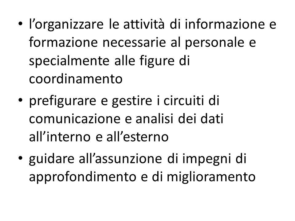 lorganizzare le attività di informazione e formazione necessarie al personale e specialmente alle figure di coordinamento prefigurare e gestire i circ