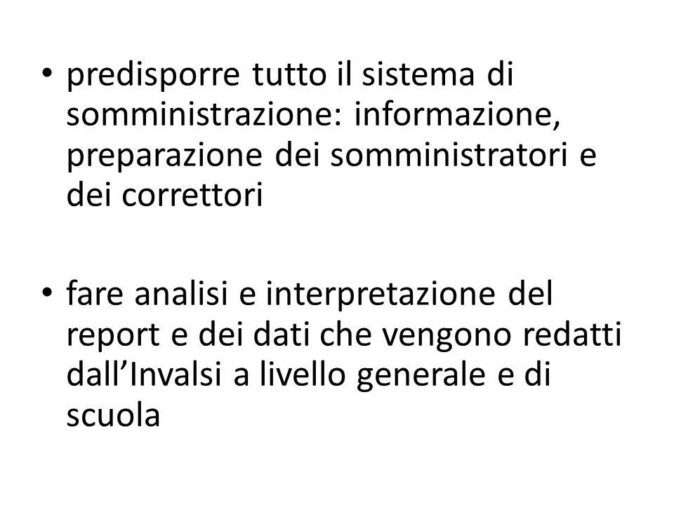 predisporre tutto il sistema di somministrazione: informazione, preparazione dei somministratori e dei correttori fare analisi e interpretazione del r
