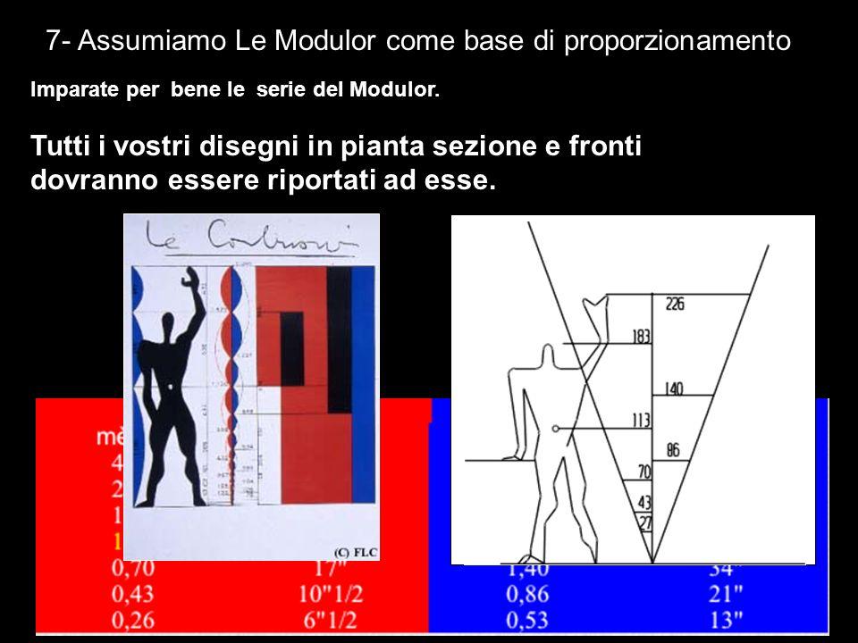 7- Assumiamo Le Modulor come base di proporzionamento Imparate per bene le serie del Modulor. Tutti i vostri disegni in pianta sezione e fronti dovran
