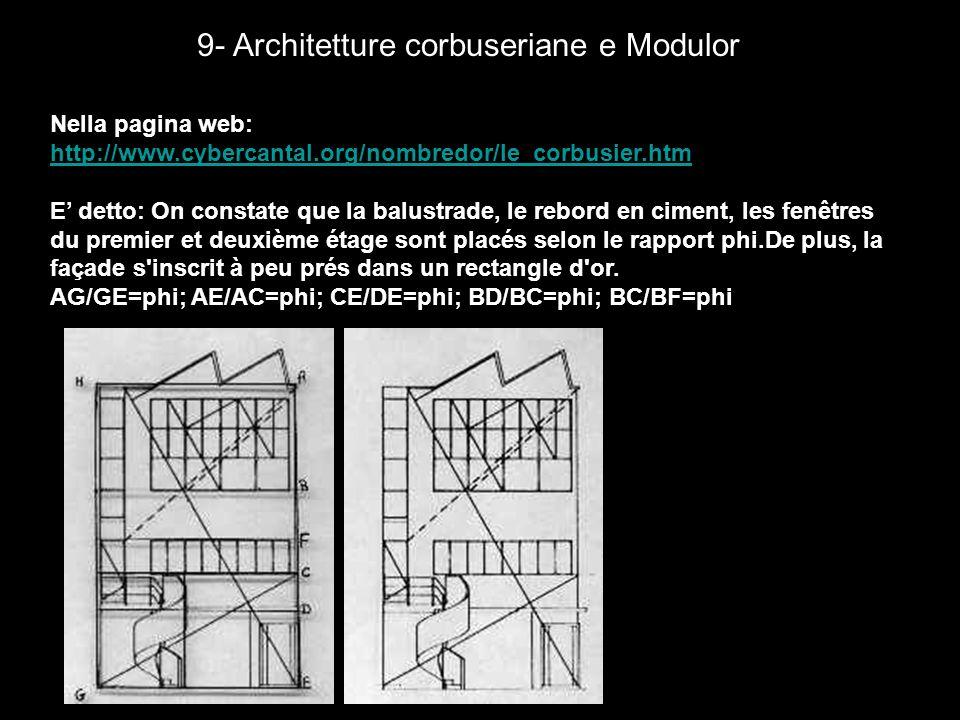 9- Architetture corbuseriane e Modulor Nella pagina web: http://www.cybercantal.org/nombredor/le_corbusier.htm E detto: On constate que la balustrade,