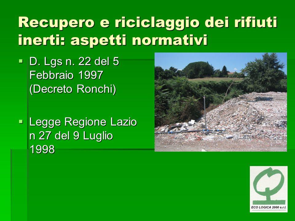 Recupero e riciclaggio dei rifiuti inerti: aspetti normativi D. Lgs n. 22 del 5 Febbraio 1997 (Decreto Ronchi) D. Lgs n. 22 del 5 Febbraio 1997 (Decre