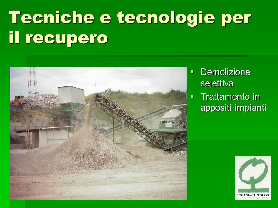 Tecniche e tecnologie per il recupero Demolizione selettiva Demolizione selettiva Trattamento in appositi impianti Trattamento in appositi impianti