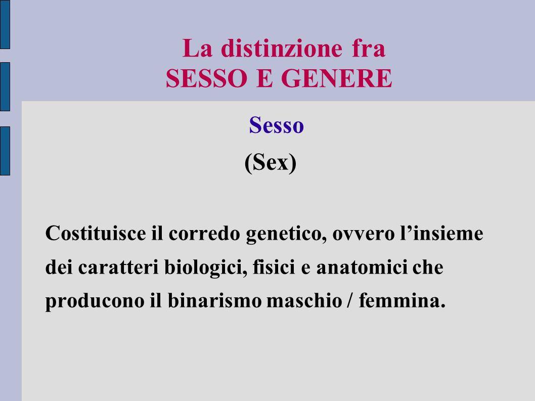 Il genere è un processo storico A) Ogni epoca definisce una identità di genere appropriata al suo contesto.