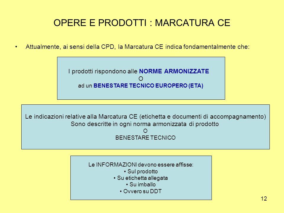 12 OPERE E PRODOTTI : MARCATURA CE Attualmente, ai sensi della CPD, la Marcatura CE indica fondamentalmente che: I prodotti rispondono alle NORME ARMONIZZATE O ad un BENESTARE TECNICO EUROPERO (ETA) Le indicazioni relative alla Marcatura CE (etichetta e documenti di accompagnamento) Sono descritte in ogni norma armonizzata di prodotto O BENESTARE TECNICO Le INFORMAZIONI devono essere affisse: Sul prodotto Su etichetta allegata Su imballo Ovvero su DDT
