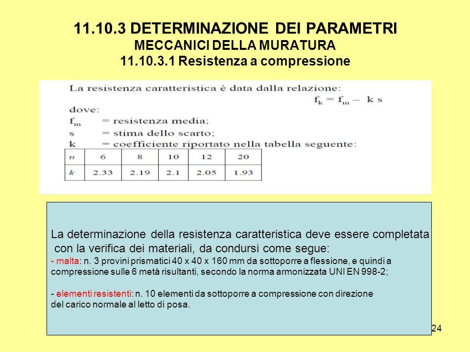 24 11.10.3 DETERMINAZIONE DEI PARAMETRI MECCANICI DELLA MURATURA 11.10.3.1 Resistenza a compressione La determinazione della resistenza caratteristica deve essere completata con la verifica dei materiali, da condursi come segue: - malta: n.