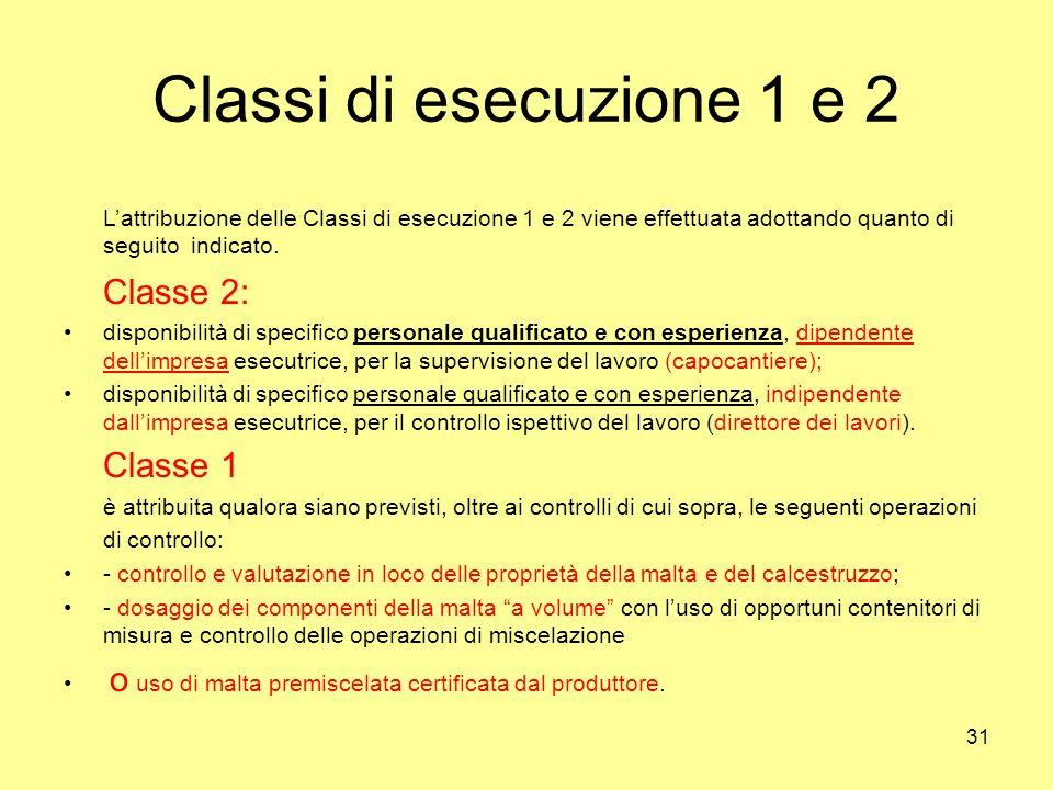 31 Classi di esecuzione 1 e 2 Lattribuzione delle Classi di esecuzione 1 e 2 viene effettuata adottando quanto di seguito indicato.