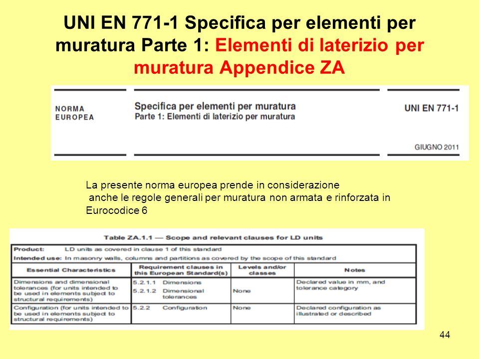 44 UNI EN 771-1 Specifica per elementi per muratura Parte 1: Elementi di laterizio per muratura Appendice ZA La presente norma europea prende in considerazione anche le regole generali per muratura non armata e rinforzata in Eurocodice 6