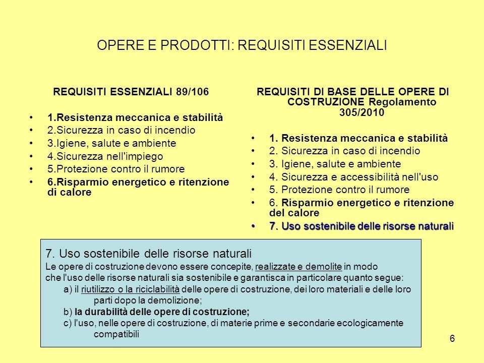 6 OPERE E PRODOTTI: REQUISITI ESSENZIALI REQUISITI ESSENZIALI 89/106 1.Resistenza meccanica e stabilità 2.Sicurezza in caso di incendio 3.Igiene, salute e ambiente 4.Sicurezza nell impiego 5.Protezione contro il rumore 6.Risparmio energetico e ritenzione di calore REQUISITI DI BASE DELLE OPERE DI COSTRUZIONE Regolamento 305/2010 1.