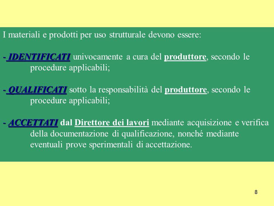 8 I materiali e prodotti per uso strutturale devono essere: - IDENTIFICATI - IDENTIFICATI univocamente a cura del produttore, secondo le procedure applicabili; - QUALIFICATI - QUALIFICATI sotto la responsabilità del produttore, secondo le procedure applicabili; - ACCETTATI - ACCETTATI dal Direttore dei lavori mediante acquisizione e verifica della documentazione di qualificazione, nonché mediante eventuali prove sperimentali di accettazione.
