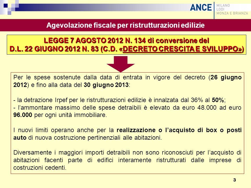 Per le spese sostenute dalla data di entrata in vigore del decreto (26 giugno 2012) e fino alla data del 30 giugno 2013: - la detrazione Irpef per le