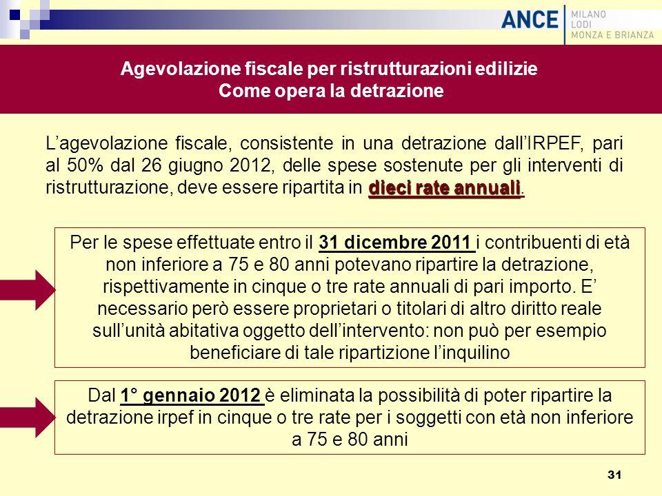 dieci rate annuali Lagevolazione fiscale, consistente in una detrazione dallIRPEF, pari al 50% dal 26 giugno 2012, delle spese sostenute per gli inter