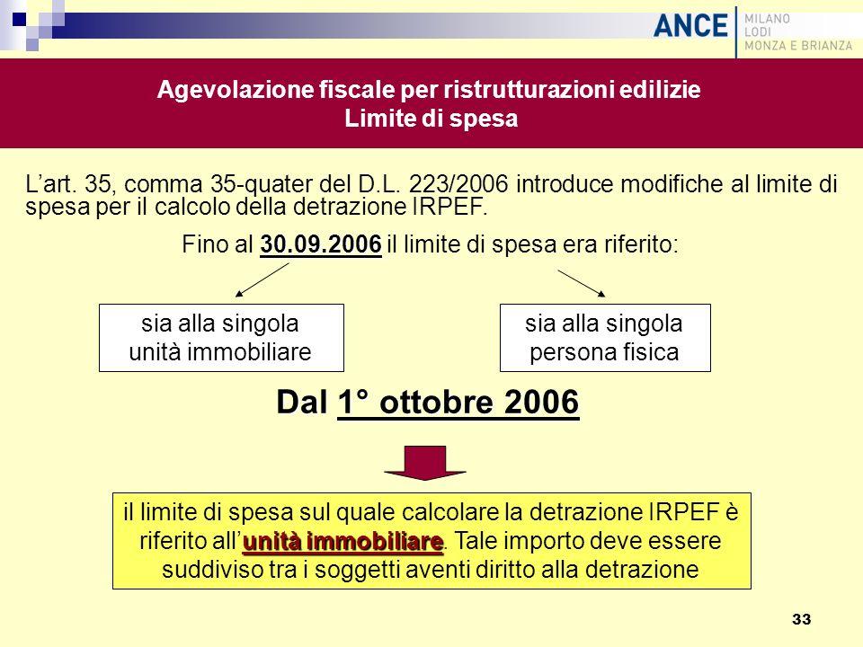 Lart. 35, comma 35-quater del D.L. 223/2006 introduce modifiche al limite di spesa per il calcolo della detrazione IRPEF. 30.09.2006 Fino al 30.09.200