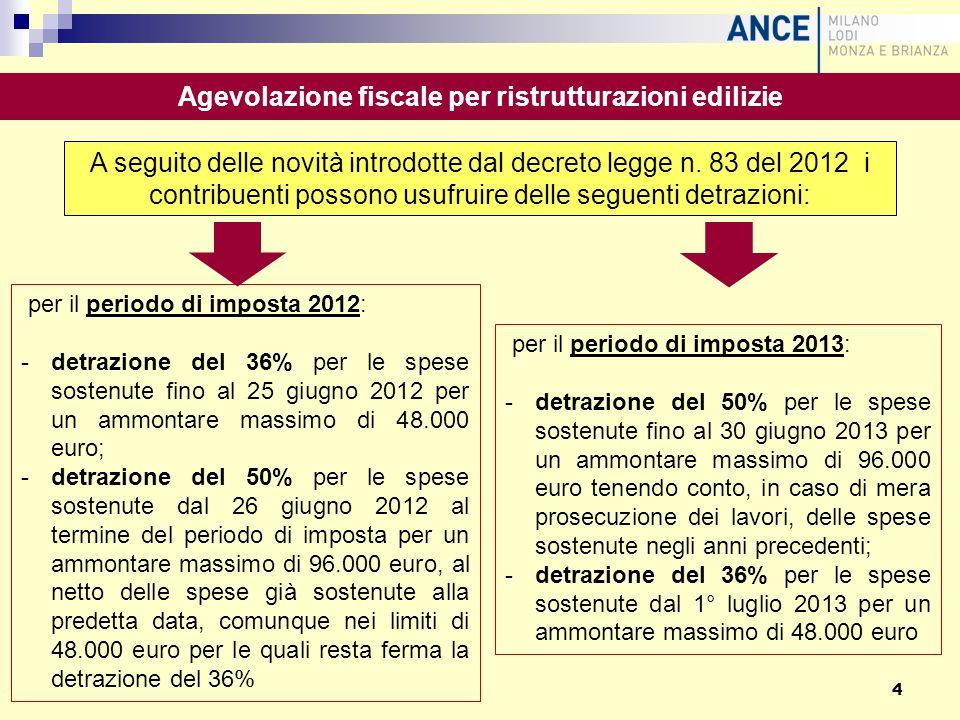 per il periodo di imposta 2012: -detrazione del 36% per le spese sostenute fino al 25 giugno 2012 per un ammontare massimo di 48.000 euro; -detrazione