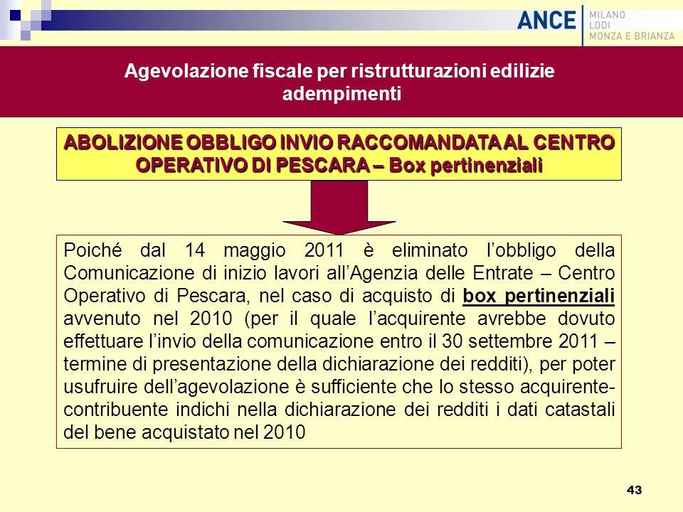 ABOLIZIONE OBBLIGO INVIO RACCOMANDATA AL CENTRO OPERATIVO DI PESCARA – Box pertinenziali Poiché dal 14 maggio 2011 è eliminato lobbligo della Comunica