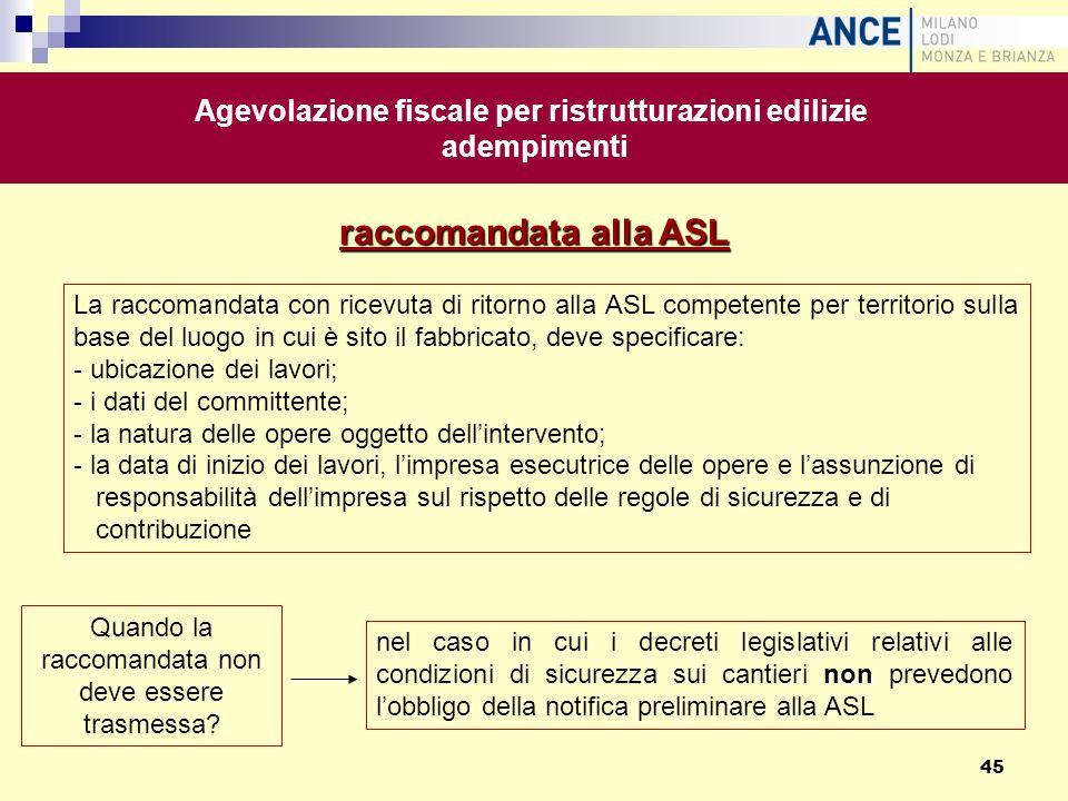 raccomandata alla ASL non nel caso in cui i decreti legislativi relativi alle condizioni di sicurezza sui cantieri non prevedono lobbligo della notifi
