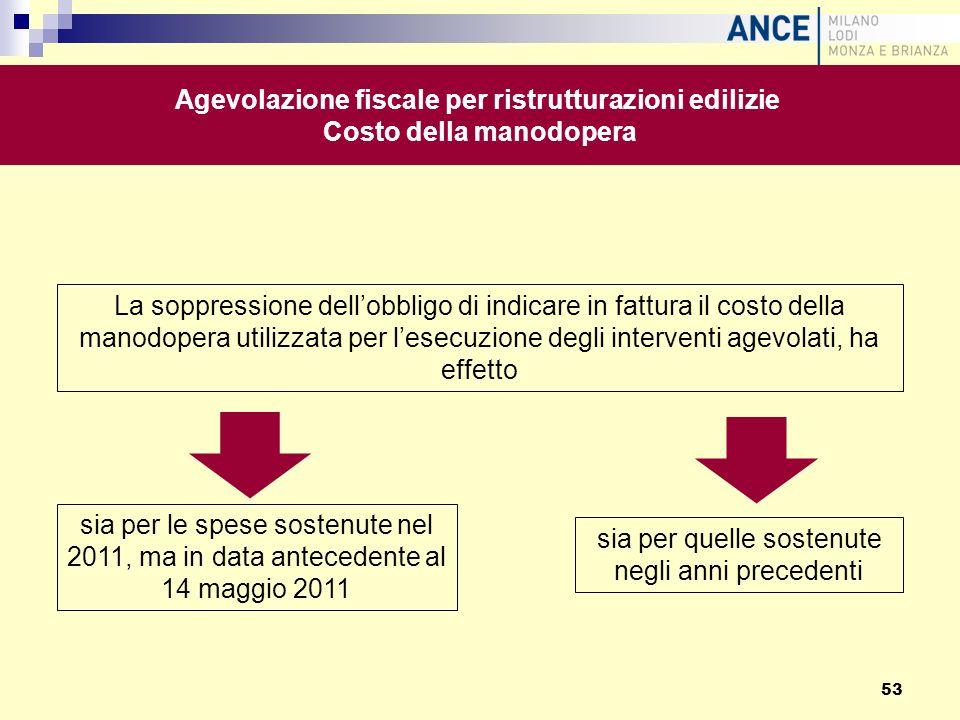 La soppressione dellobbligo di indicare in fattura il costo della manodopera utilizzata per lesecuzione degli interventi agevolati, ha effetto Agevola