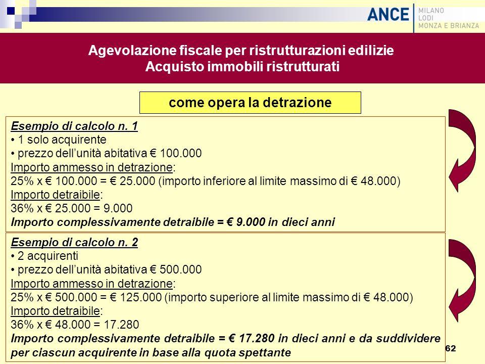 come opera la detrazione Esempio di calcolo n. 1 1 solo acquirente prezzo dellunità abitativa 100.000 Importo ammesso in detrazione: 25% x 100.000 = 2