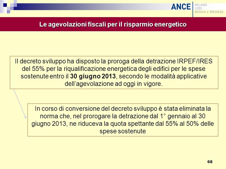 Il decreto sviluppo ha disposto la proroga della detrazione IRPEF/IRES del 55% per la riqualificazione energetica degli edifici per le spese sostenute