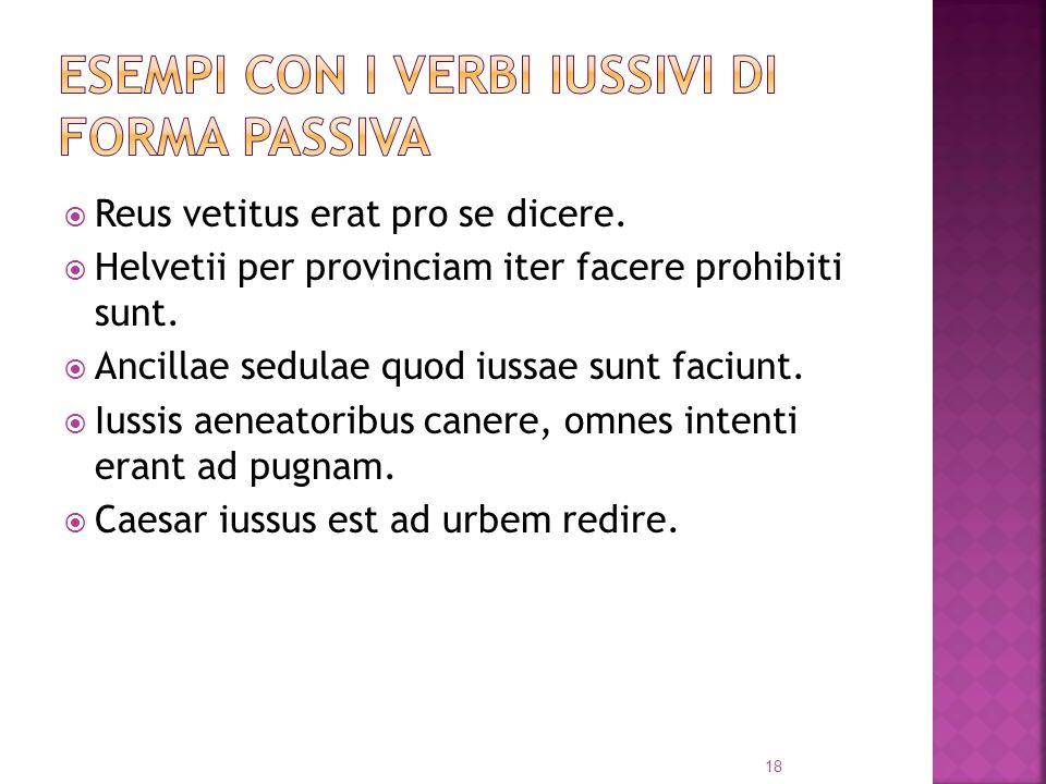 Reus vetitus erat pro se dicere.Helvetii per provinciam iter facere prohibiti sunt.