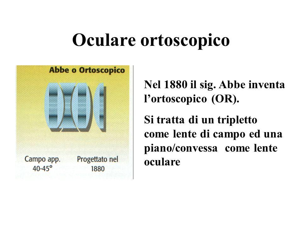 Oculare ortoscopico Nel 1880 il sig. Abbe inventa lortoscopico (OR).