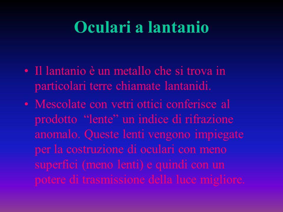 Oculari a lantanio Il lantanio è un metallo che si trova in particolari terre chiamate lantanidi.