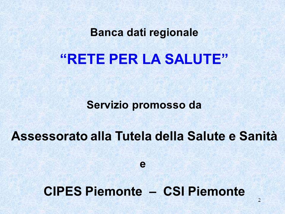 2 Banca dati regionale RETE PER LA SALUTE Servizio promosso da Assessorato alla Tutela della Salute e Sanità e CIPES Piemonte – CSI Piemonte