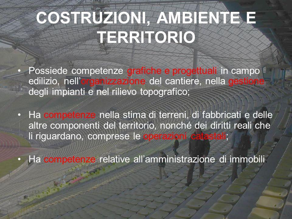 COSTRUZIONI, AMBIENTE E TERRITORIO Possiede competenze grafiche e progettuali in campo edilizio, nellorganizzazione del cantiere, nella gestione degli