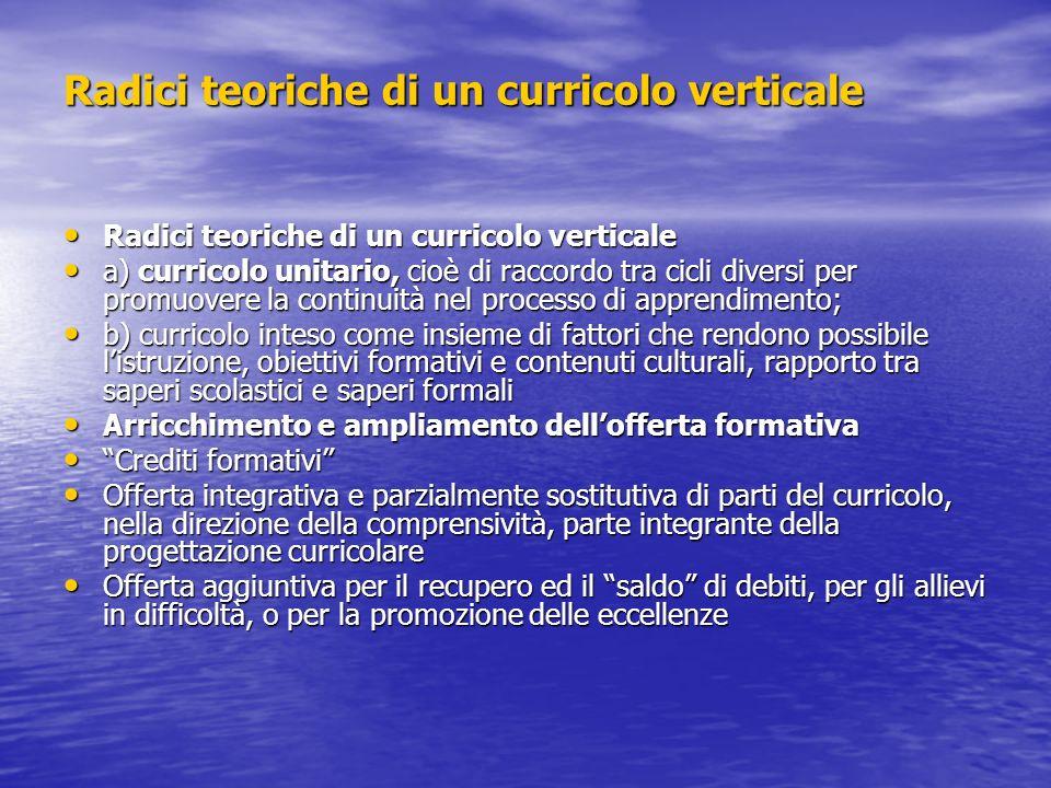 Radici teoriche di un curricolo verticale Radici teoriche di un curricolo verticale Radici teoriche di un curricolo verticale a) curricolo unitario, c