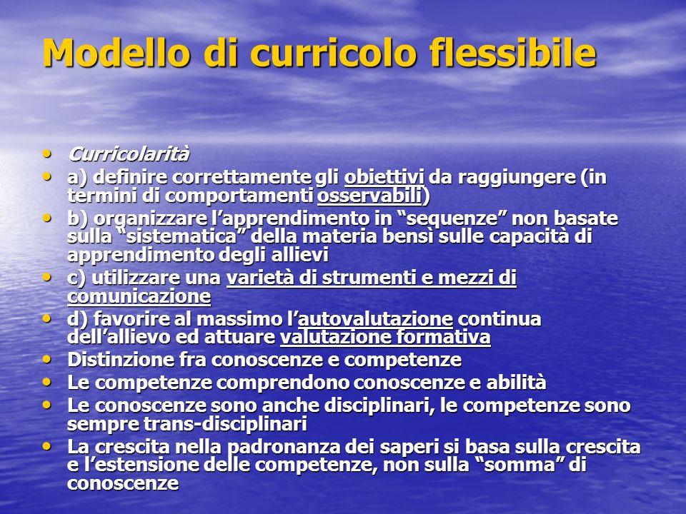 Modello di curricolo flessibile Curricolarità Curricolarità a) definire correttamente gli obiettivi da raggiungere (in termini di comportamenti osserv