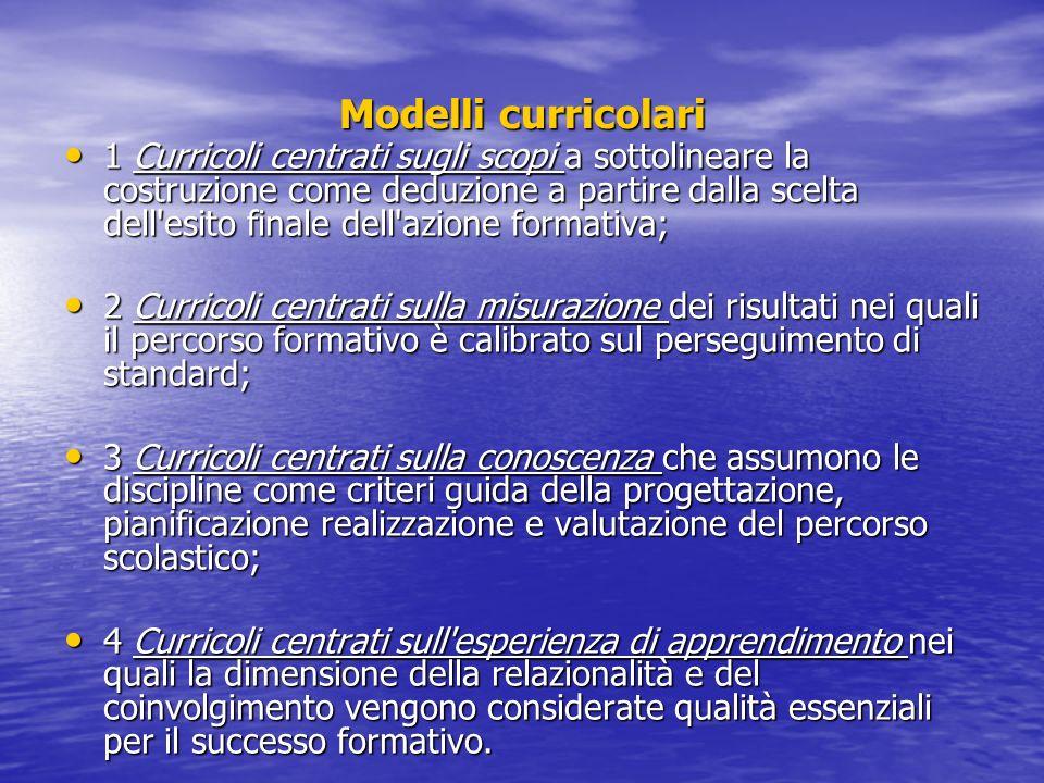 Modelli curricolari 1 Curricoli centrati sugli scopi a sottolineare la costruzione come deduzione a partire dalla scelta dell'esito finale dell'azione