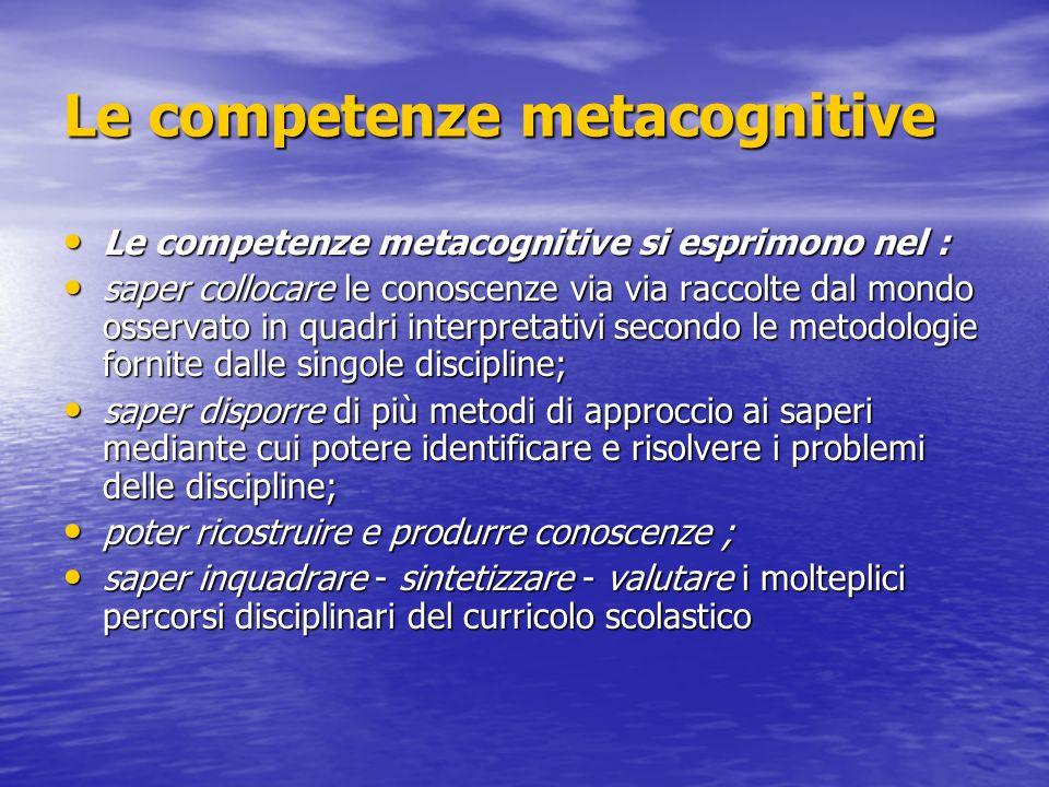 Le competenze metacognitive Le competenze metacognitive si esprimono nel : Le competenze metacognitive si esprimono nel : saper collocare le conoscenz