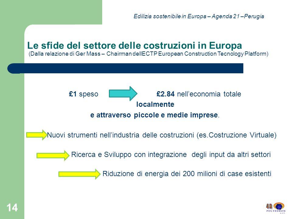 Le sfide del settore delle costruzioni in Europa (Dalla relazione di Ger Mass – Chairman dellECTP European Construction Tecnology Platform) £1 speso £2.84 nelleconomia totale localmente e attraverso piccole e medie imprese.