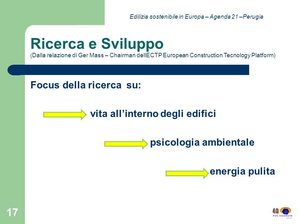Ricerca e Sviluppo (Dalla relazione di Ger Mass – Chairman dellECTP European Construction Tecnology Platform) Focus della ricerca su: vita allinterno degli edifici psicologia ambientale energia pulita 17 Edilizia sostenibile in Europa – Agenda 21 –Perugia