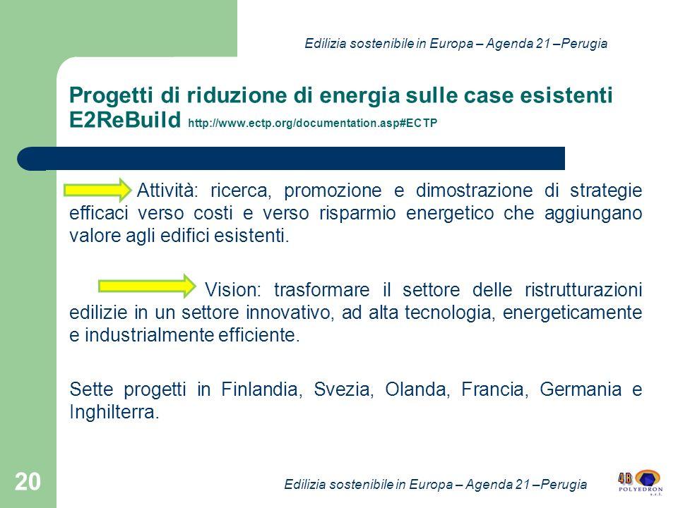Progetti di riduzione di energia sulle case esistenti E2ReBuild http://www.ectp.org/documentation.asp#ECTP Attività: ricerca, promozione e dimostrazione di strategie efficaci verso costi e verso risparmio energetico che aggiungano valore agli edifici esistenti.