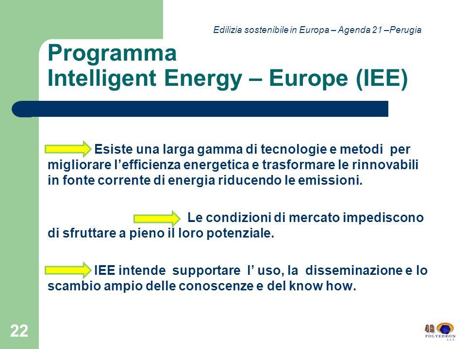 Programma Intelligent Energy – Europe (IEE) Esiste una larga gamma di tecnologie e metodi per migliorare lefficienza energetica e trasformare le rinnovabili in fonte corrente di energia riducendo le emissioni.