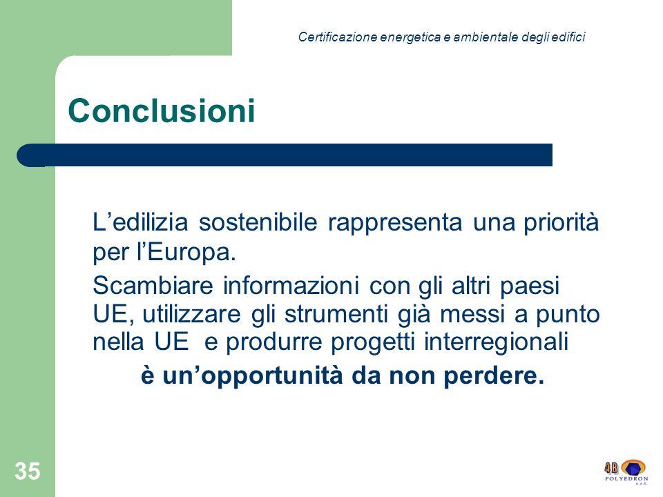 35 Conclusioni Ledilizia sostenibile rappresenta una priorità per lEuropa.