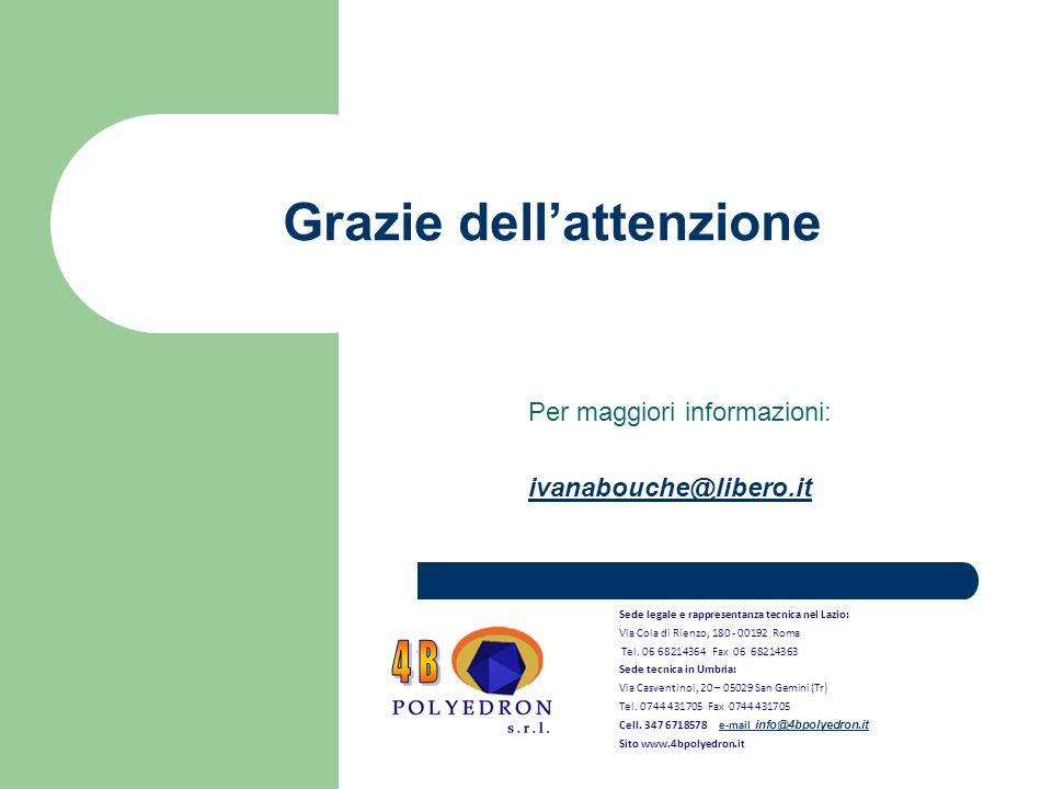 Grazie dellattenzione Per maggiori informazioni: ivanabouche@libero.it Sede legale e rappresentanza tecnica nel Lazio: Via Cola di Rienzo, 180 - 00192 Roma Tel.